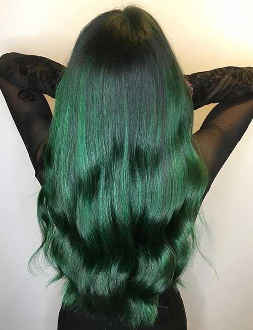 Balayage Vs Highlights - Emerald Green Balayage