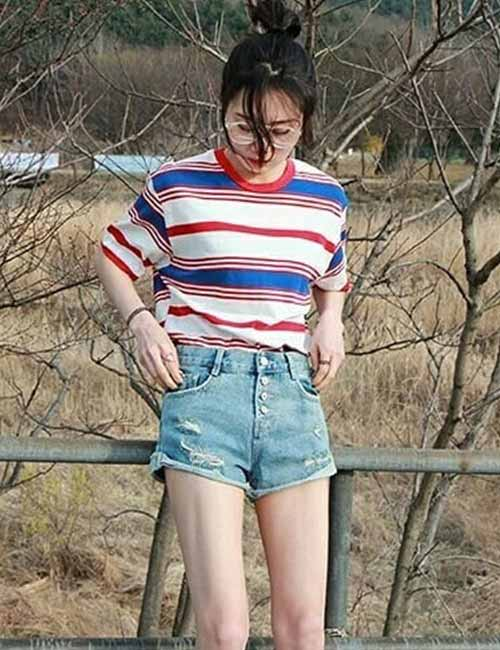 Korean Fashion - Shorts And Bold Striped Top
