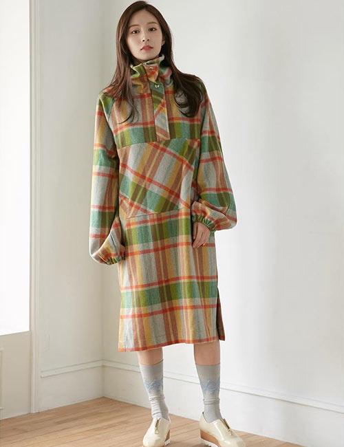 Korean Fashion - Turtleneck Checkered Winter Dress