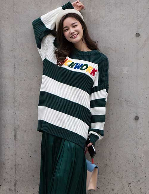 Korean Fashion - Oversized Sweater And A Pleated Skirt