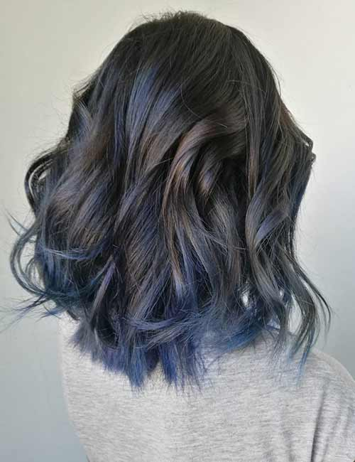 Balayage Vs Highlights - Smokey Blue Balayage