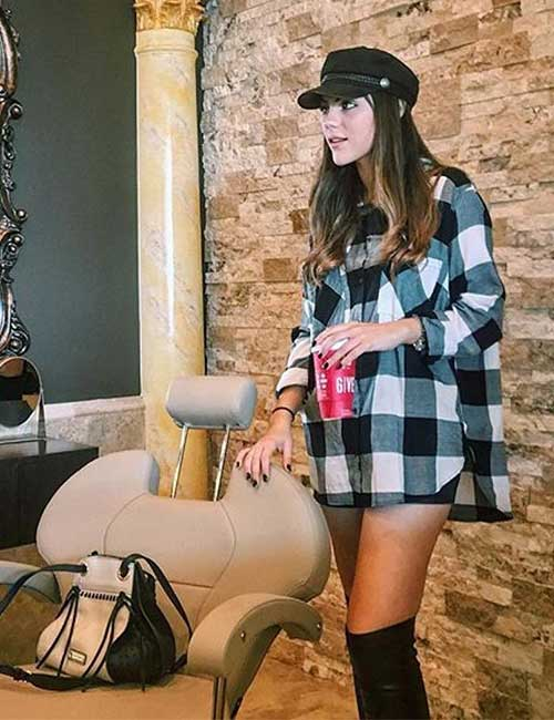 Style Knee High Boots - With A Checkered Shirt Dress