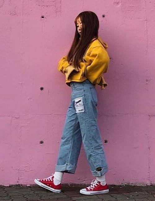 Korean Fashion - Distressed Jeans And Sweaters