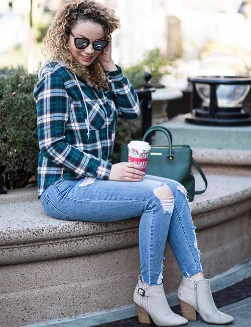 How To Wear A Flannel - Distressed Denim And Ankle Booties
