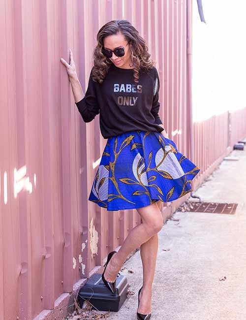 Skater Skirts - Blue Floral Skater Skirt