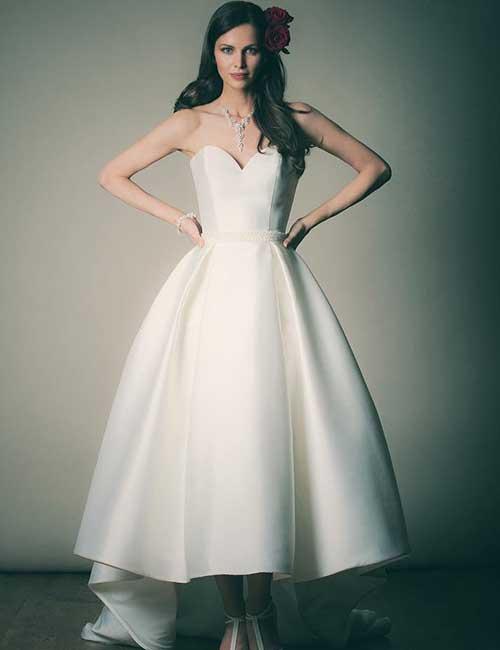 1. Satin T-Length Wedding Dress
