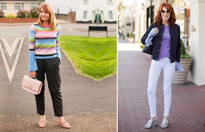 1. Striped Sweaters And Ankle Length Trousers