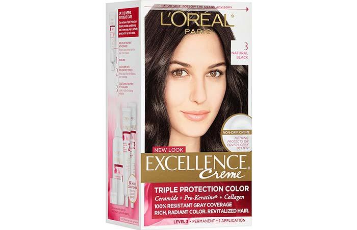 Black Hair Dyes - L'Oreal Paris Excellence Creme Triple Protection Color Creme Permanent Hair Color – 3 Natural Black