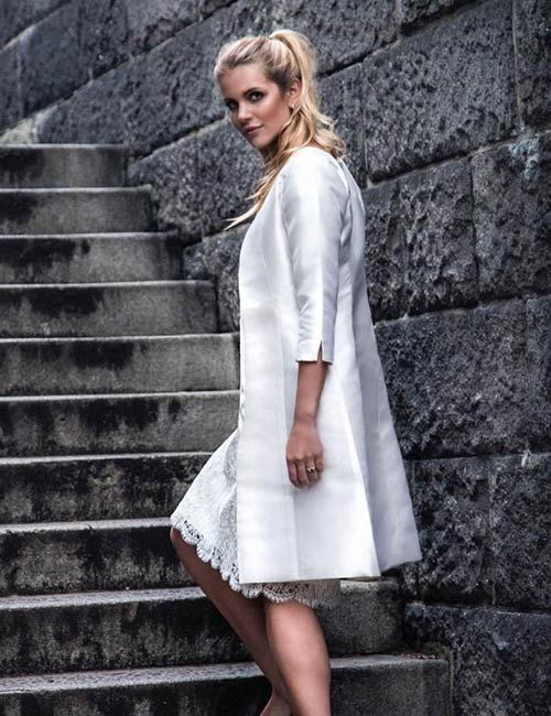 10. Short Lace Dress And A Satin Overcoat