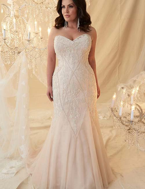 78585b4285a Plus Size Wedding Dresses - Strapless High Low Gown With Silver  Embellishments