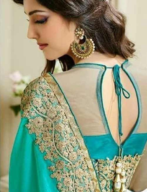 Net Blouse Designs - Chiffon And Net Blouse With Golden Embroidery