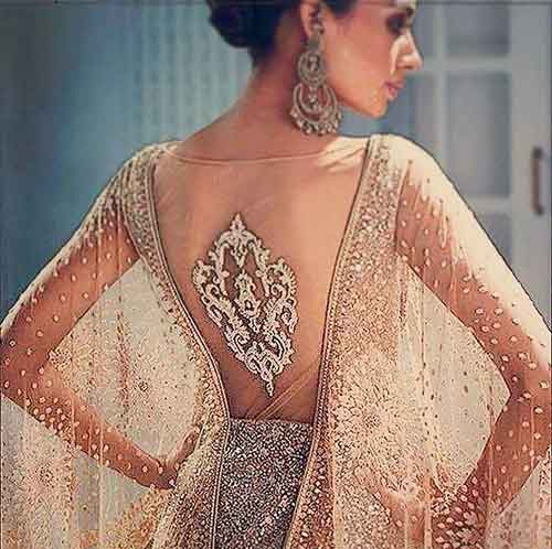 Net Blouse Designs - Golden Sheer Tulle Blouse For Lehenga