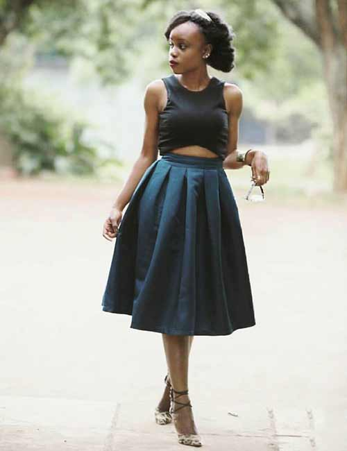 Skater Skirts - Midi Skater Skirt And Crop Top
