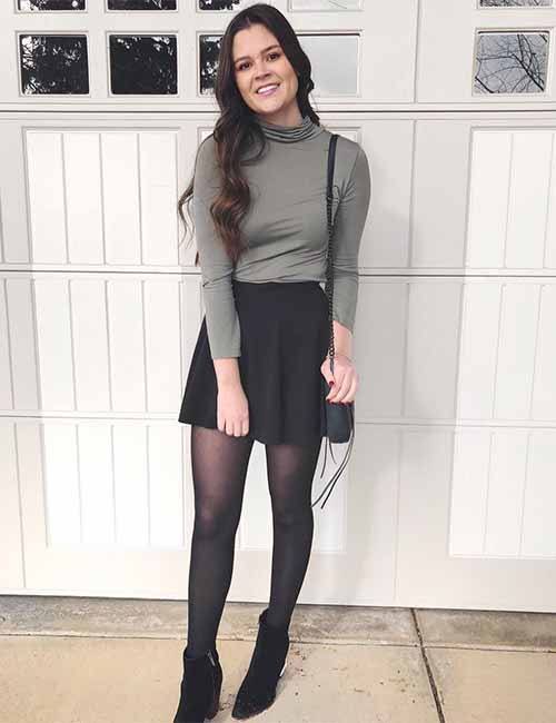 Skater Skirts - Black Skater Skirt And Turtleneck Tops
