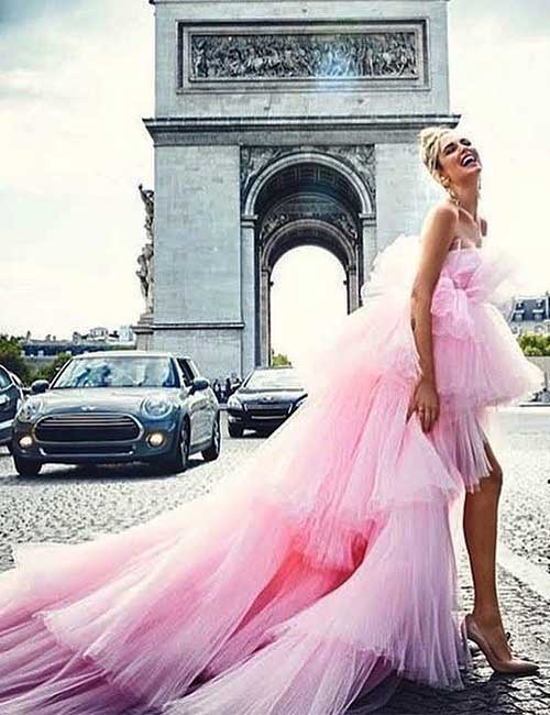 19. Pink Asymmetrical Wedding Dress In Tulle