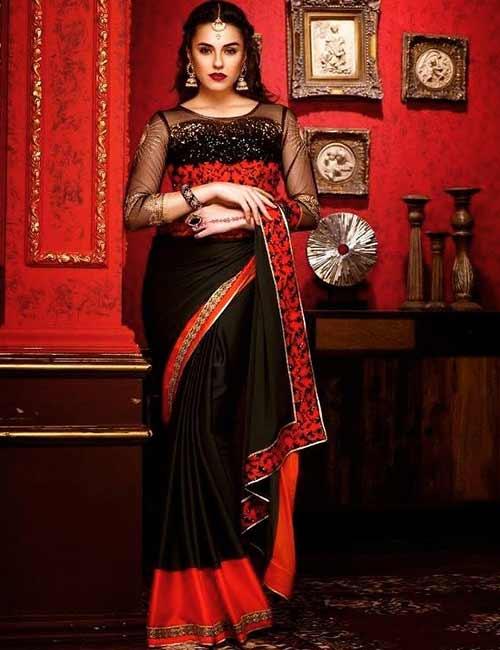 Net Blouse Designs - Black Georgette Saree With Bracelet Sleeves