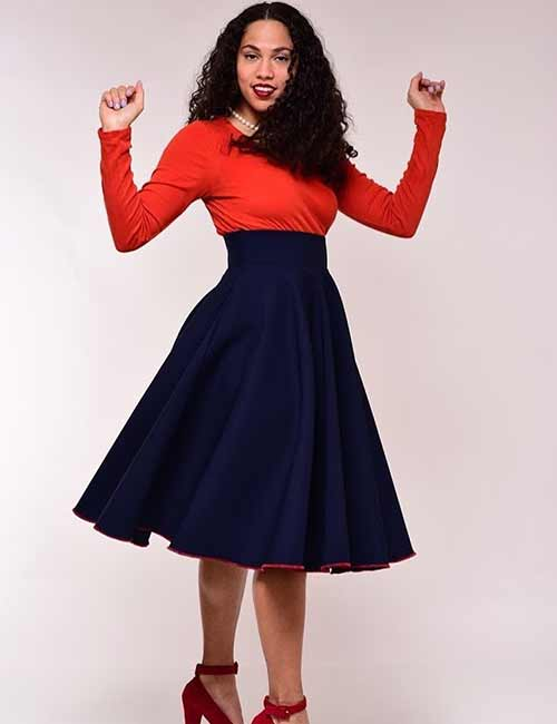 Skater Skirts - Navy Blue Skater Skirt