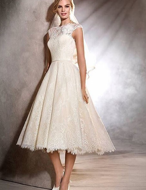 Vintage Wedding Dresses - Tea Length Vintage Wedding Gown