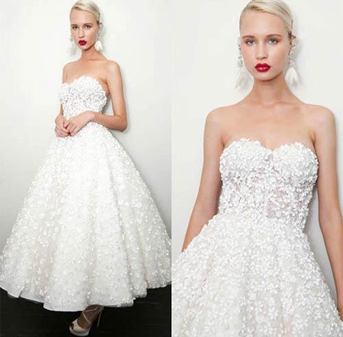 6. Floral T-Length Wedding Dress
