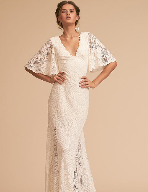 Vintage Wedding Dresses - Lace Dress With Flap Sleeves And V-Neck