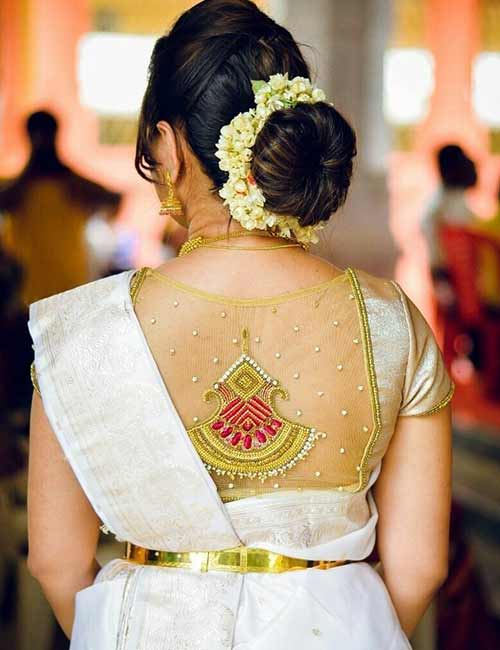 Net Blouse Designs - Golden Color Silk And Net Blouse