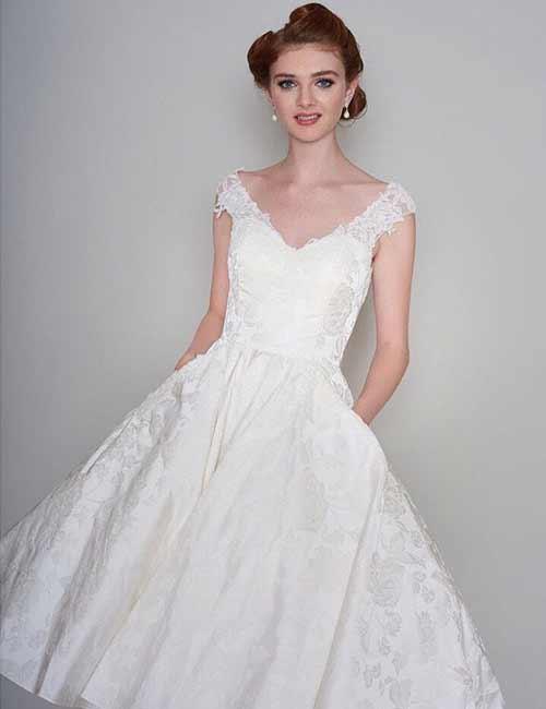 7. Ivory Brocade T-Length Wedding Dress
