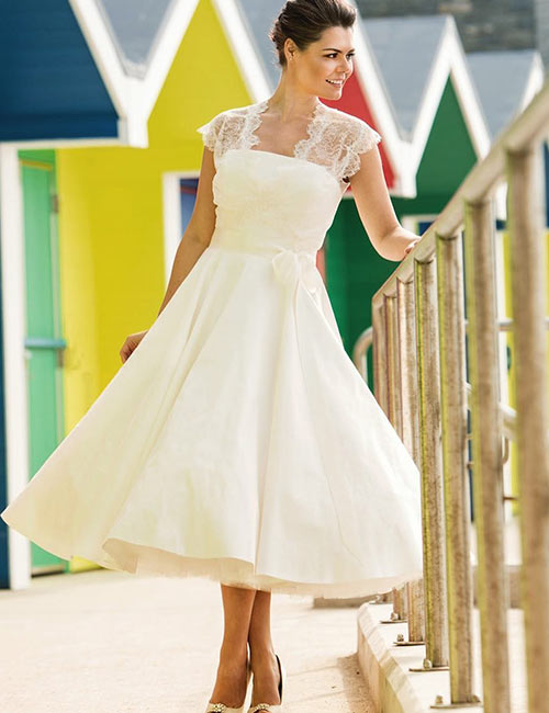Vintage Wedding Dresses - T-Length Lace And Chiffon Dress