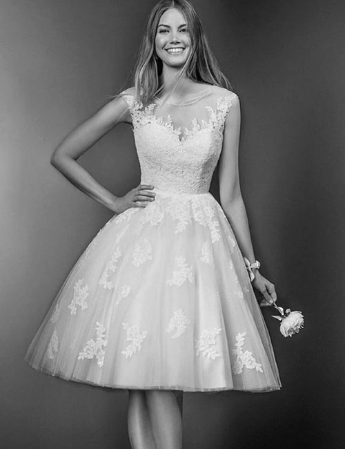 Vintage Wedding Dresses - Knee Length Lace Applique Work Bridal Dress