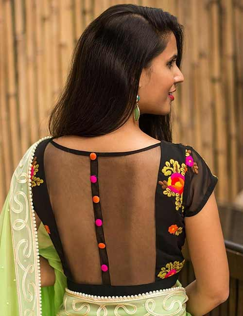 Net Blouse Designs - Georgette And Net Blouse With Threadwork