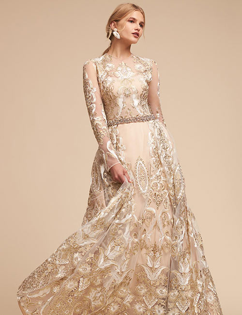 Vintage Wedding Dresses - Golden Color Applique Work Wedding Gown