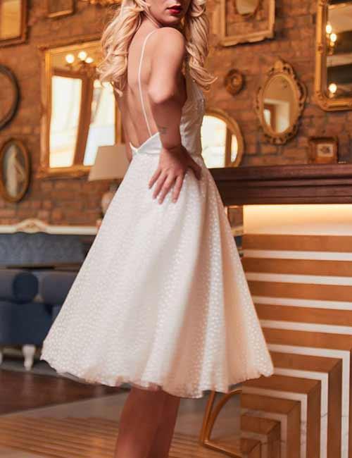 9. Short Backless Chiffon Dresses