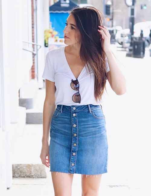 c38eaa613121 Denim Skirt Outfit Ideas - Button Down Skirt With A Plain T-Shirt