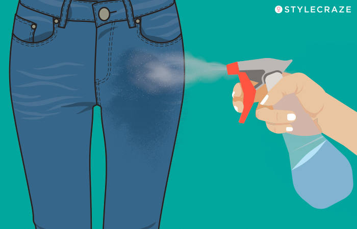 How To Stretch Out Tight Jeans - Spray Lukewarm Water And Stretch