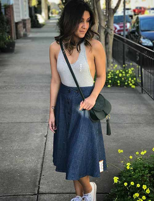 Denim Skirt Outfit Ideas - Knee Length Chambray Flared Skirt