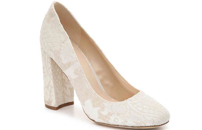 Bridal Wedding Shoes - Off-White Block Heels