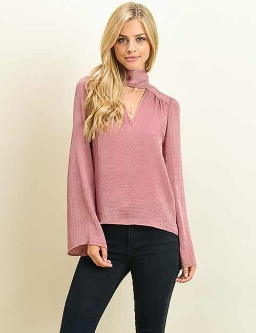 3e6c03c53c5 Pink Collar Style Sheer Top