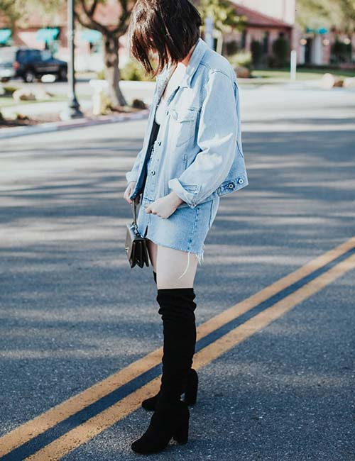 Denim Skirt Outfit Ideas - Denim Skirt With Tights (Or Leggings)