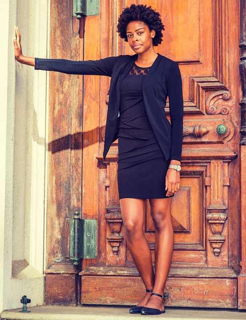 How To Wear A Blazer - Formal Bodycon Dress With A Waterfall Style Blazer