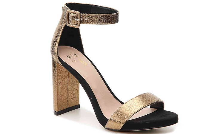 Bridal Wedding Shoes - Black And Gold Ankle Strap Heels