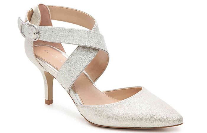 Bridal Wedding Shoes - Kitten Heels In Ivory