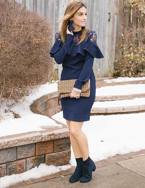 a4f557bfb38 Best Shoe Colors That Go With A Navy Blue Dress - Suede Boots