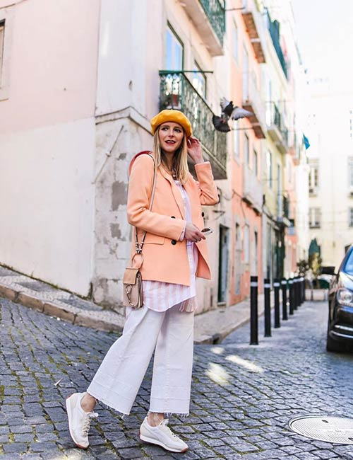 How To Wear A Blazer - Colored Blazer Over Culottes