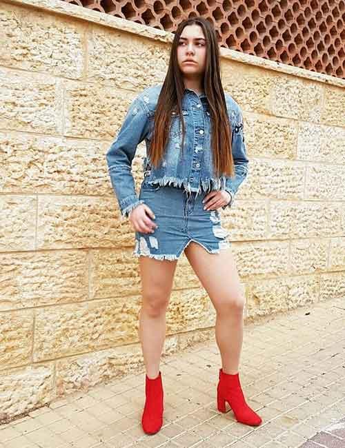 14. Denim Skirt With A Denim Jacket