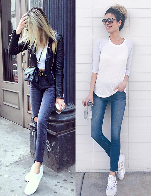 Perfect Shoes To Wear With Skinny Jeans - White Converse Shoes Or Slip Ons