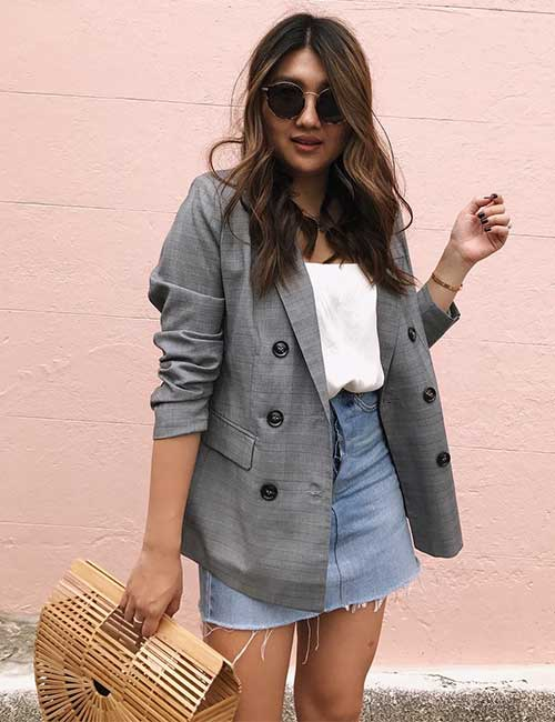 Denim Skirt Outfit Ideas - Faded Denim Skirt With Formal Blazer