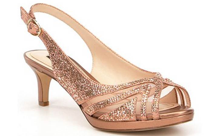 Bridal Wedding Shoes - Gold Sequin Peep Toes