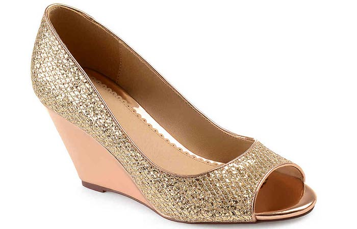 Bridal Wedding Shoes - Gold Sequin Wedges