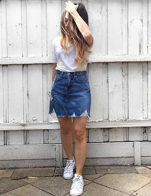 Denim Skirt Outfit Ideas - Denim Skirt And White Sneakers