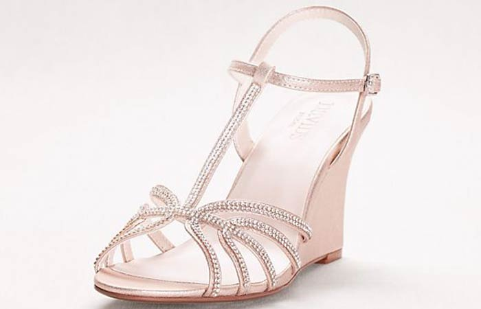 Bridal Wedding Shoes - T- Strap Silver Sandals