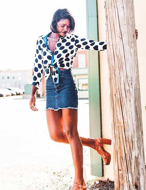 18. Denim Skirt Block Heels And Polka Dots Shirt